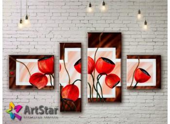 Модульные Картины, рисованные, маслом, Art. MHM17_4_350