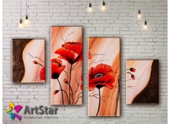 Модульные Картины, рисованные, маслом, Art. MHM17_4_352