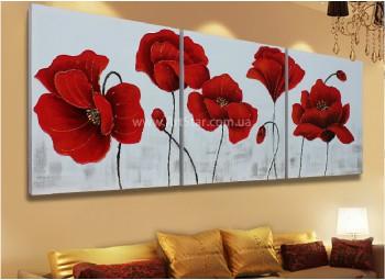 Рисованная модульная картина Цветы 2