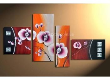 Рисованная модульная картина Цветы 40