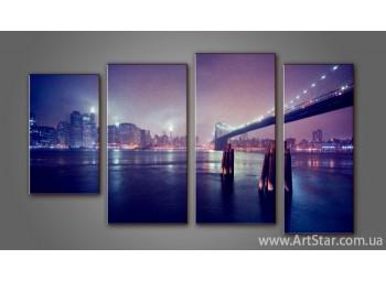 Модульная картина Панорама Бруклинский Мост (4)